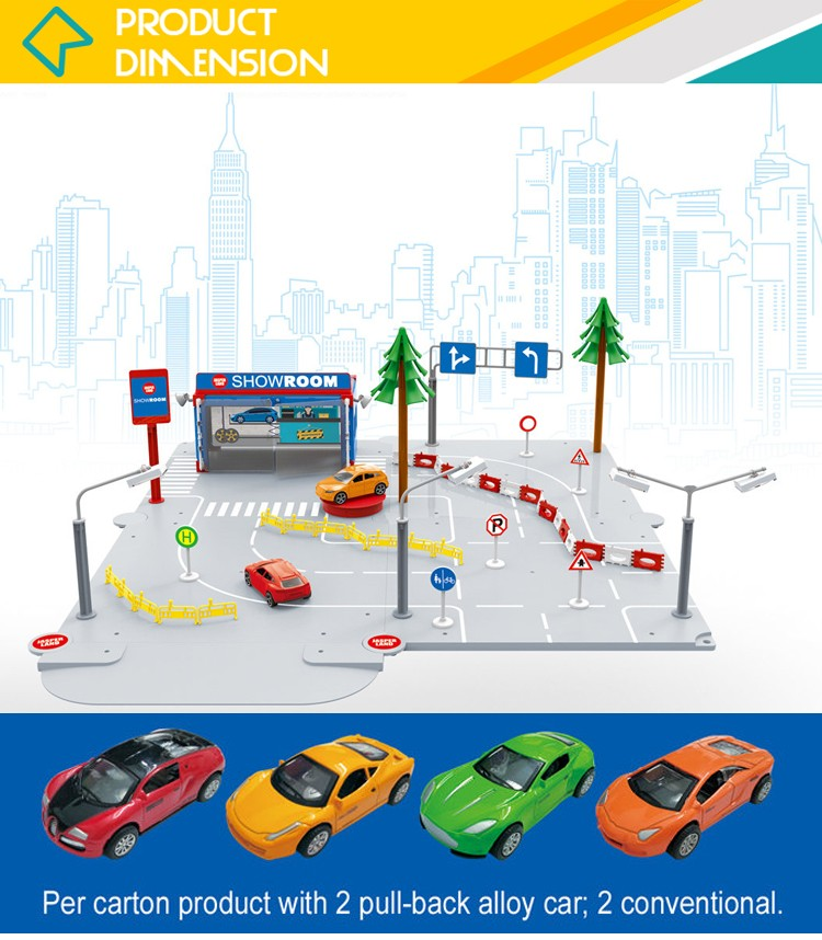 Assemble diy set toy parking garage with metal pull back cars