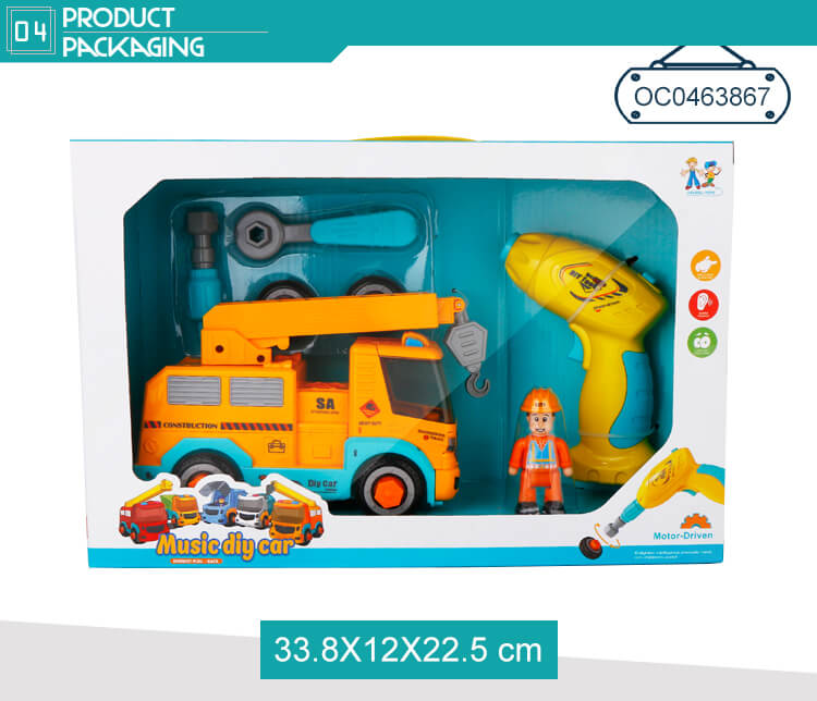 DIY Assembly Crane Truck Kids Toys Educational Pull Back Car STEM With Music
