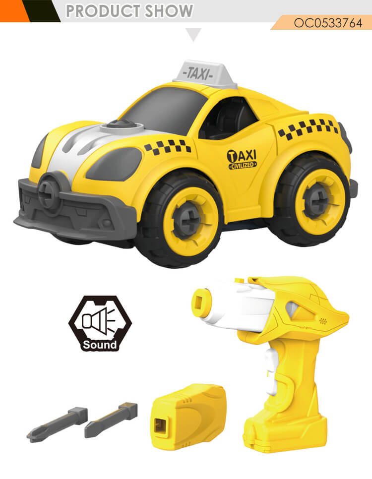 Hot selling toys remote control taxi assemble electric rc car diy for kids
