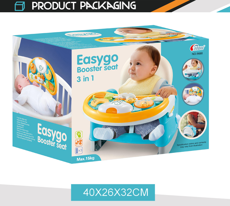 3 in 1 portable dining feeding baby table chair with music light