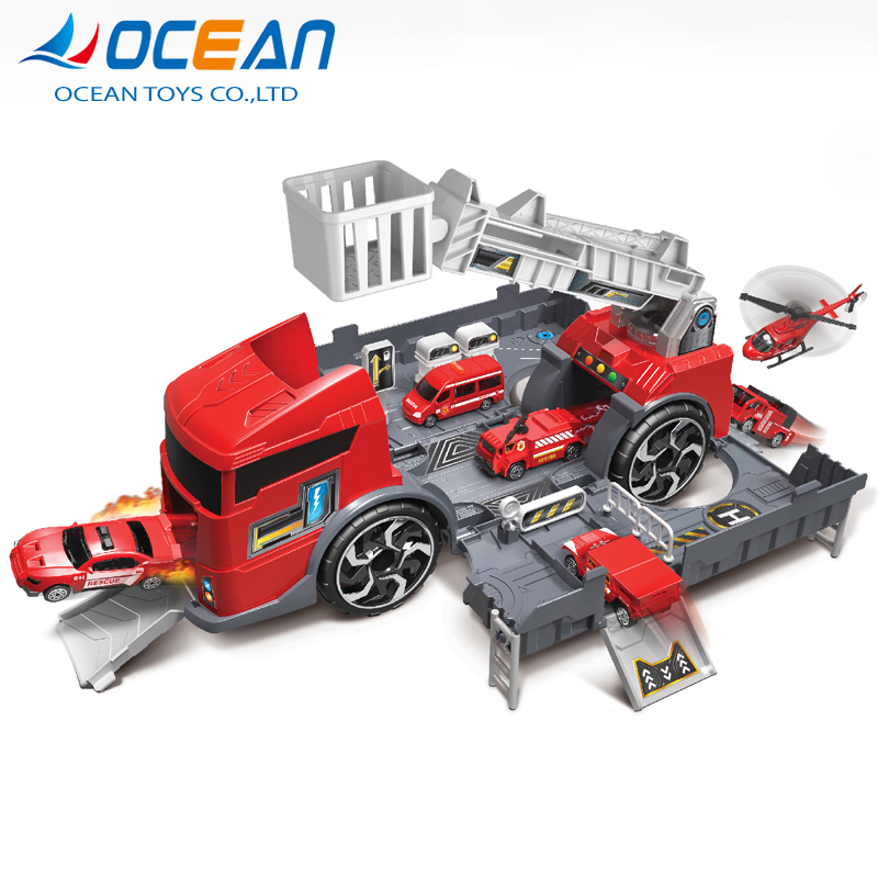 Fire truck assembly lot diy set car parking garage toy with 2 cars