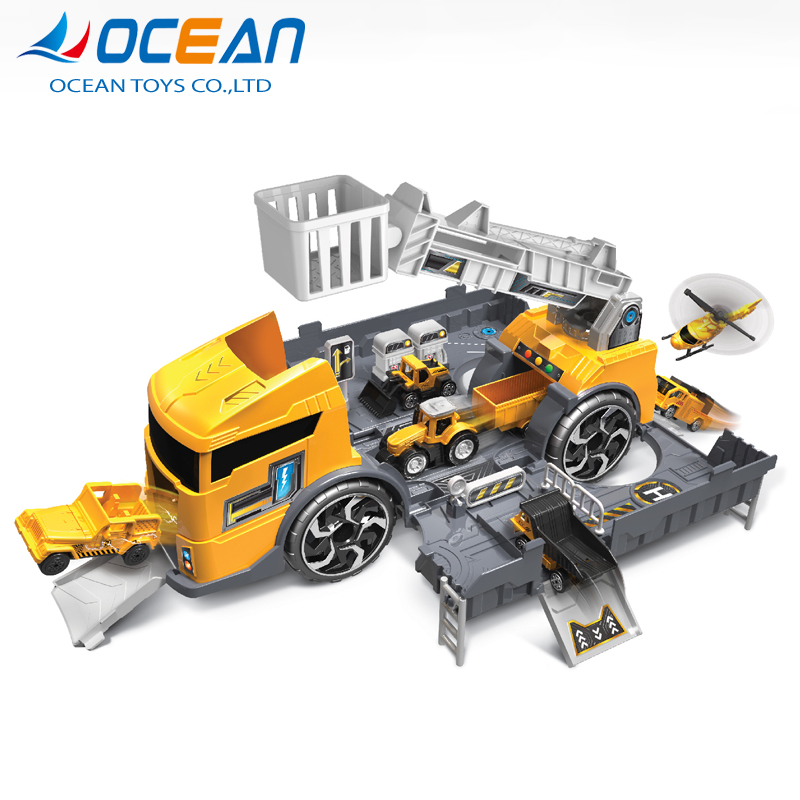 2 in 1 parking garage set diy plastic truck assemble toy with light