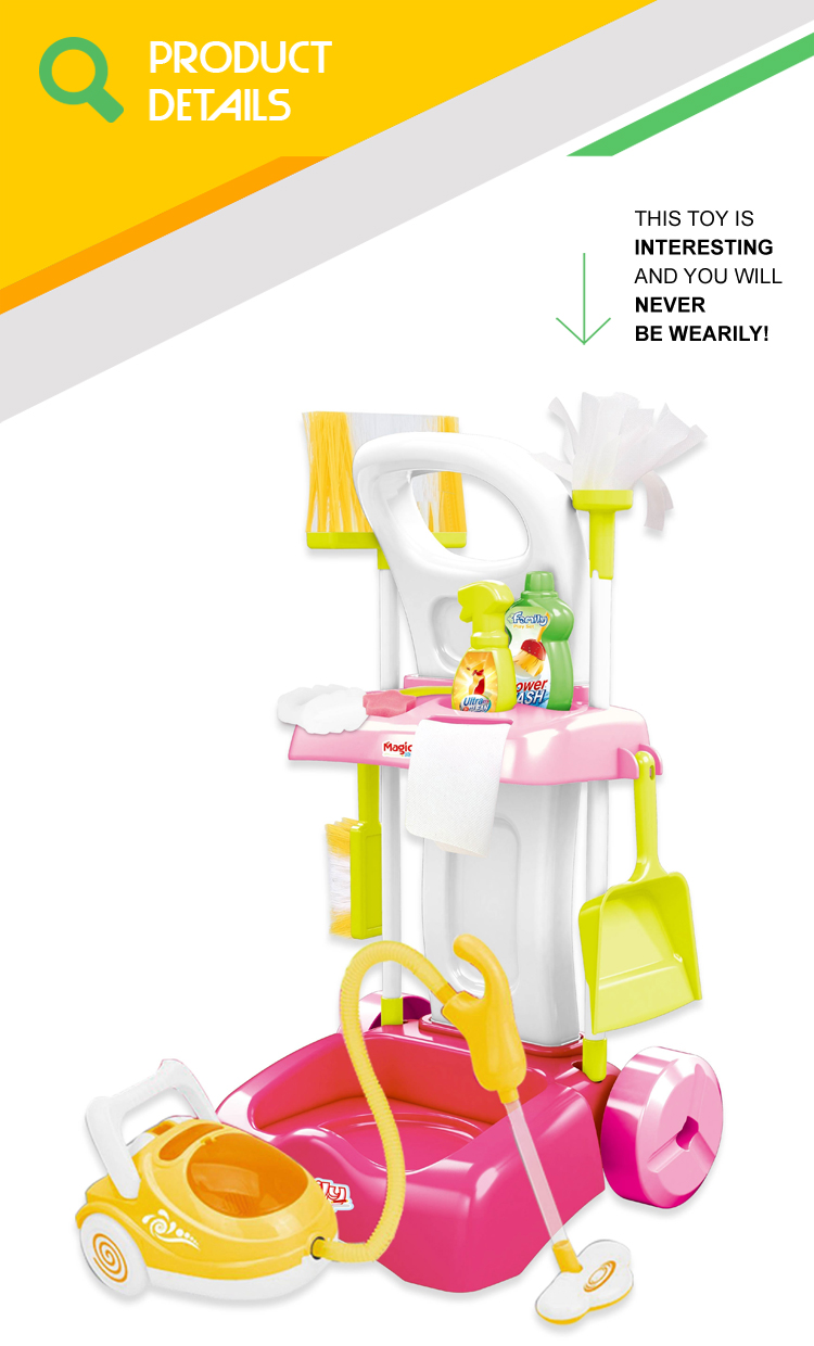 Hot sale kids cleaning set house keeping toy cleaner with vacuum