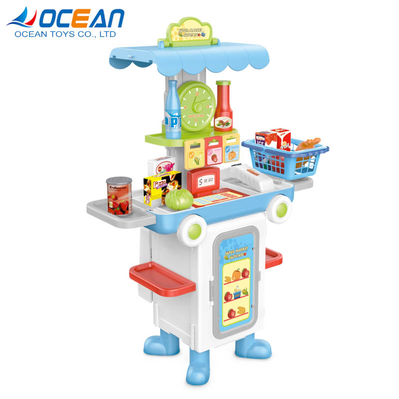 2 in 1 deformation bus shopping mall pretend play toys kiosk supermarket toy for Kids