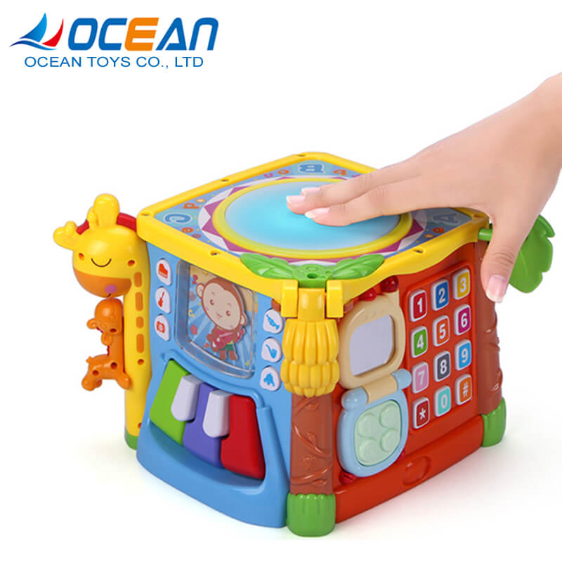Preschool 6 sides plastic cube musical baby drum toy building blocks