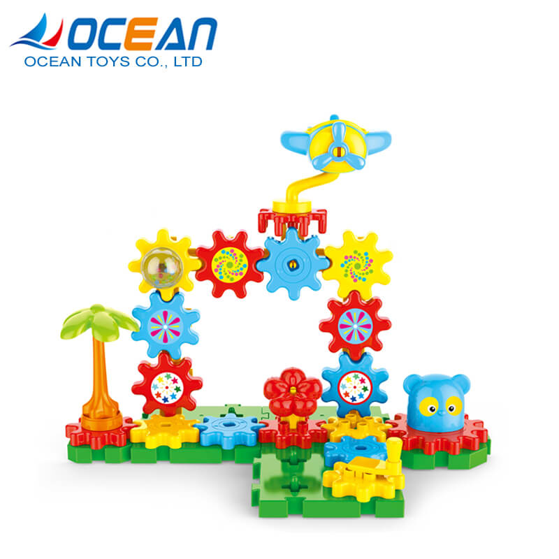 Hot product kids play intelligent game small plastic gear blocks toys