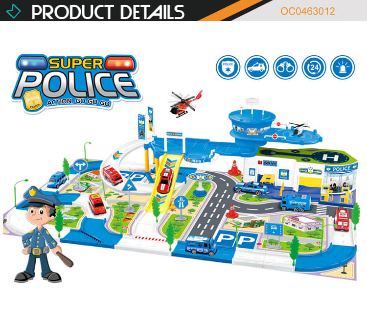 Wholesale kids educational police car track parking toys lot with plane
