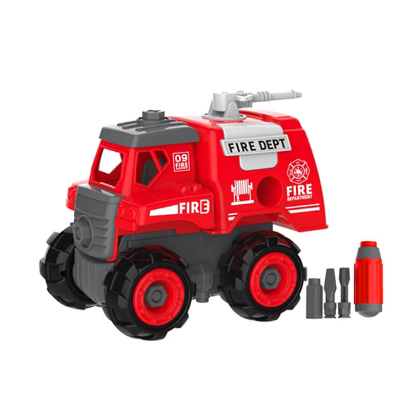 New item 2 in 1 radio control and B/O DIY fire truck for kids