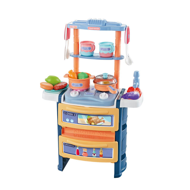 56cm Dining table blue kitchen set toys for kids with light sound 20pcs