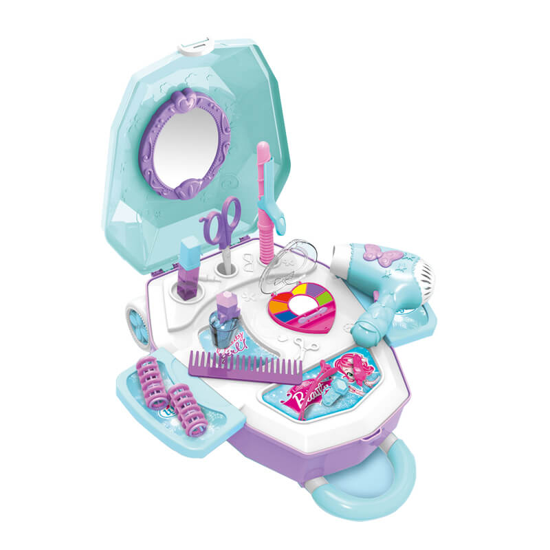 2in1 B/O girl beauty makeup tools set toys little luggage for kids