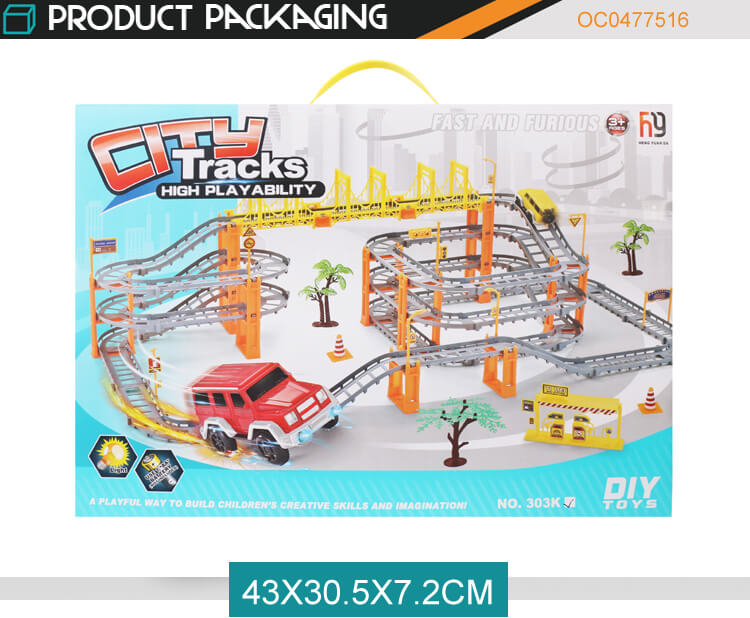 Newest battery operation DIY city large slot car racing track for kids