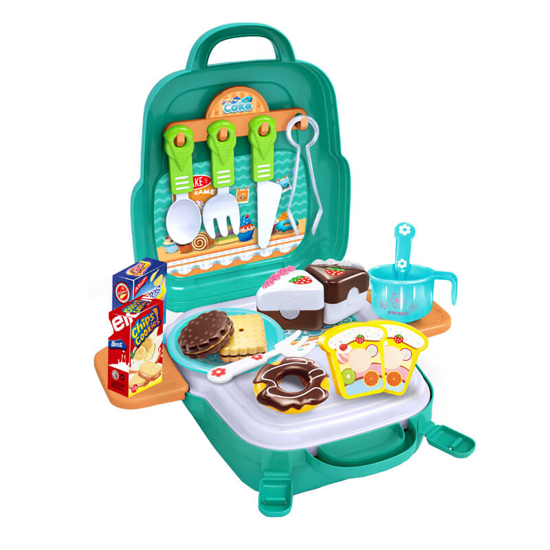 3in1 tea break afternoon kitchen plastic cake cookies toys set backpack