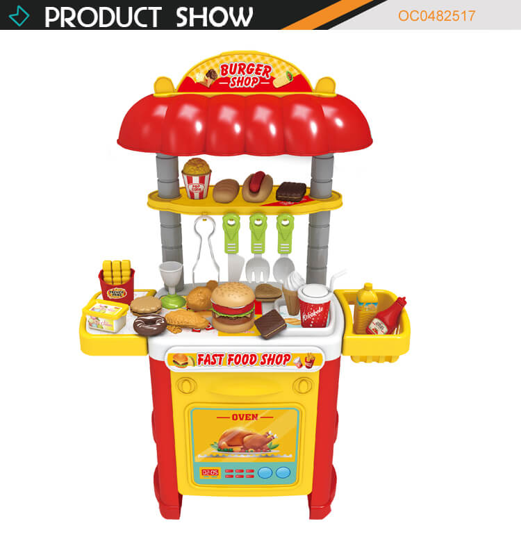 High quality kitchen role play hamburger fast food shop set toy for kids