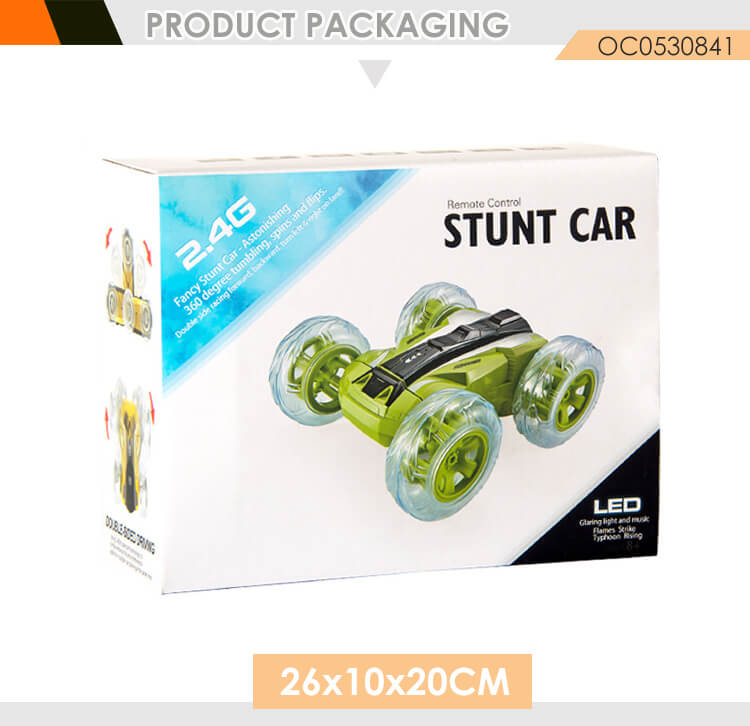 Cool 2.4g remote control double sided stunt rc car toy with lights music